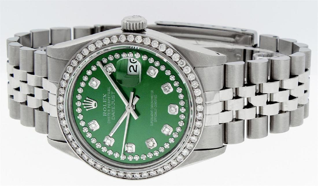 Rolex Men's Stainless Steel Green String Diamond 36MM - 4