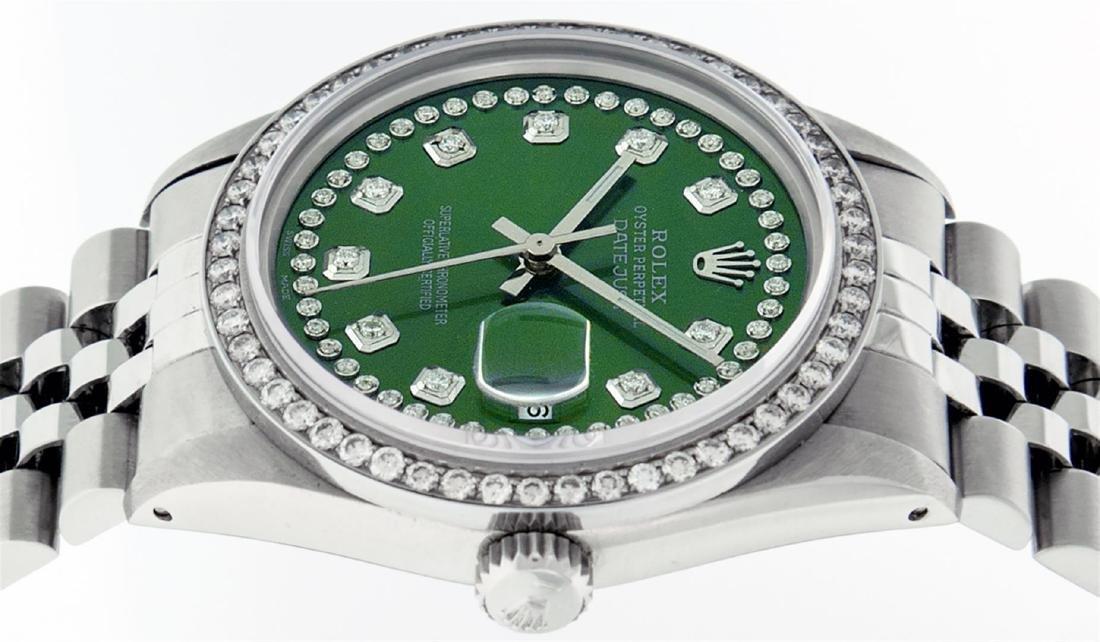 Rolex Men's Stainless Steel Green String Diamond 36MM - 5