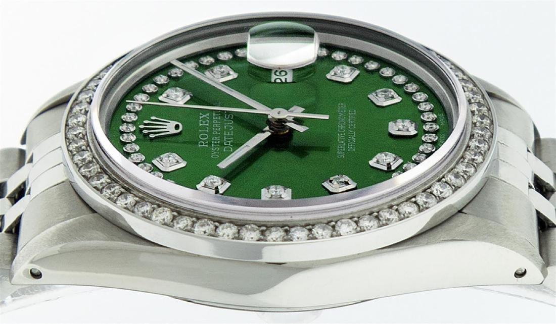 Rolex Men's Stainless Steel Green String Diamond 36MM - 6
