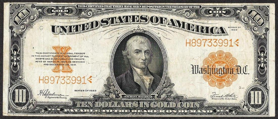 1922 $10 Gold Certificate Note