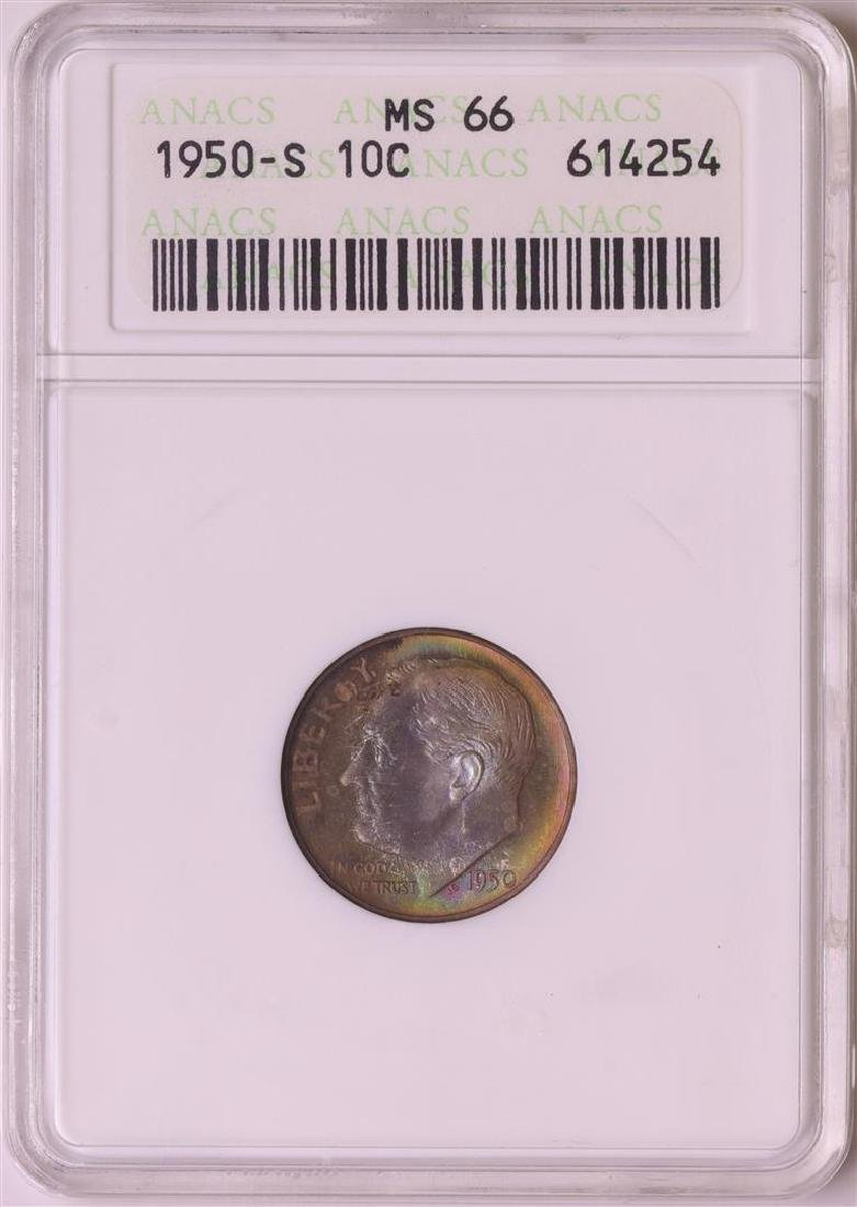 1950-S Roosevelt Dime Coin ANACS MS66 Amazing Toning