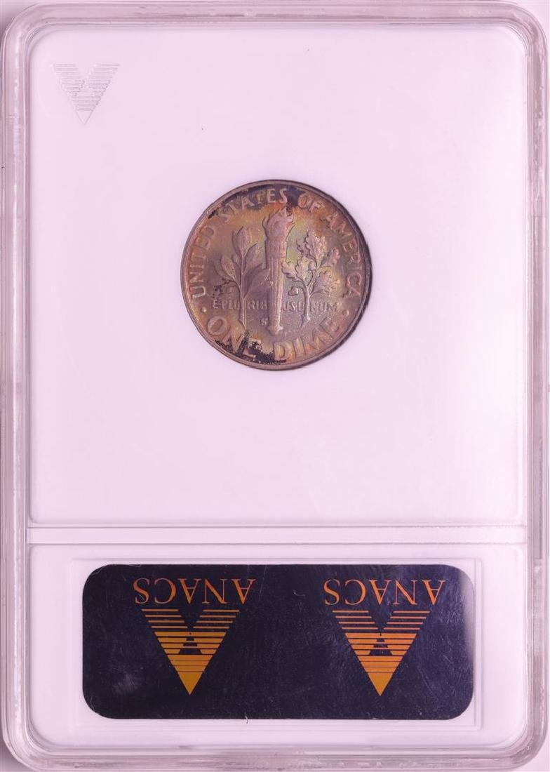 1950-S Roosevelt Dime Coin ANACS MS66 Amazing Toning - 2