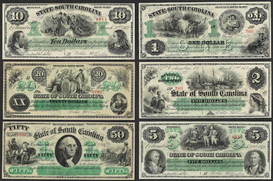Lot of (6) 1872 State of South Carolina Obsolete