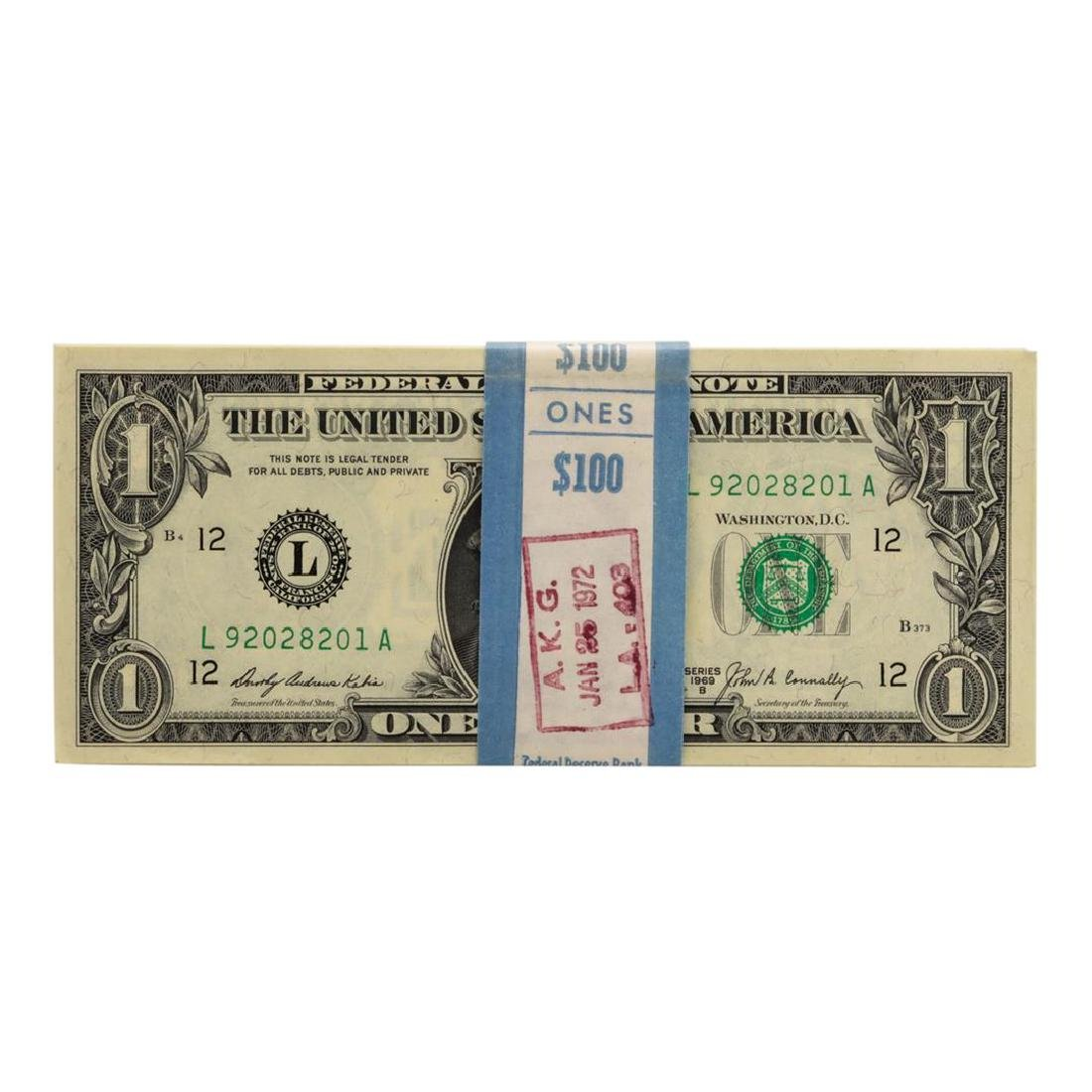 Pack of (100) Consecutive 1969B $1 Federal Reserve