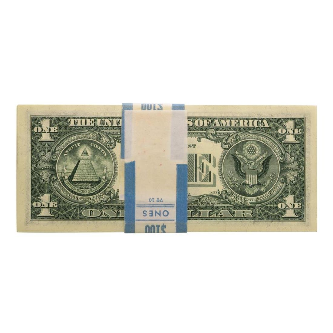Pack of (100) Consecutive 1969B $1 Federal Reserve - 2