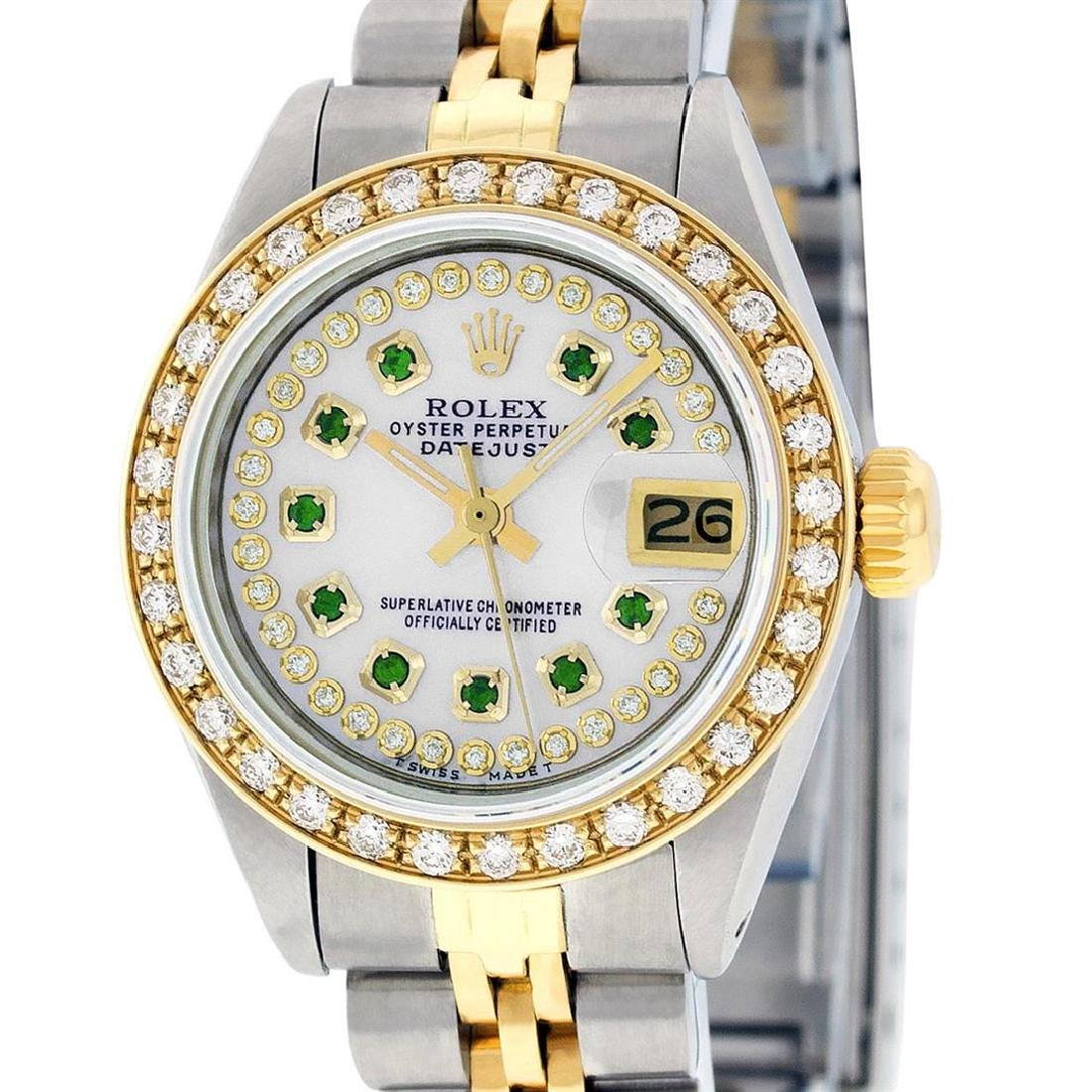 Rolex Ladies Two Tone 14K MOP Emerald String Diamond