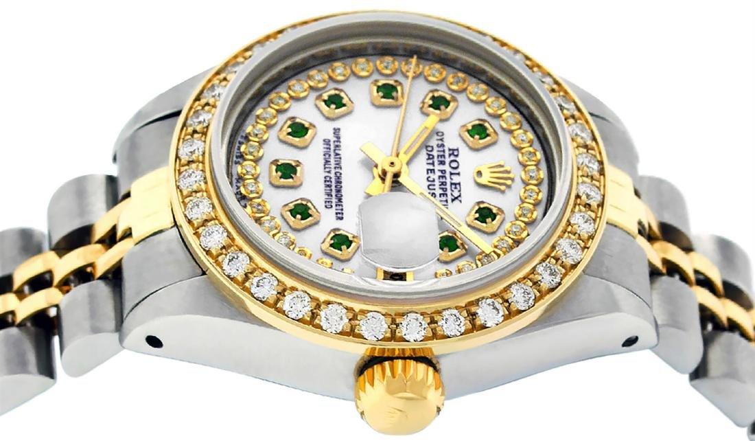 Rolex Ladies Two Tone 14K MOP Emerald String Diamond - 3
