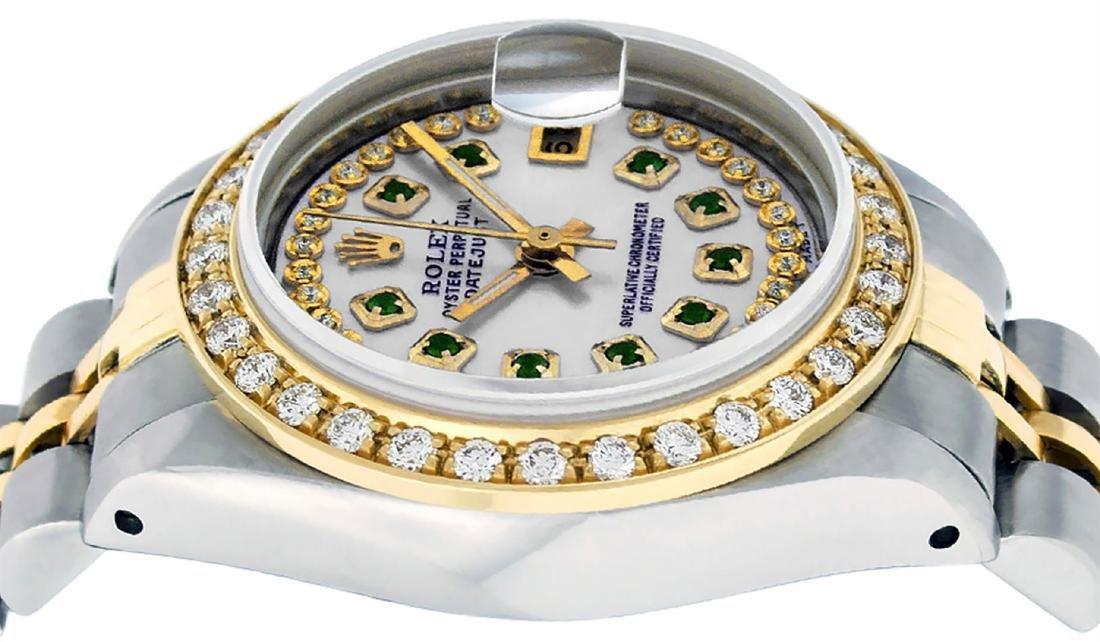 Rolex Ladies Two Tone 14K MOP Emerald String Diamond - 4