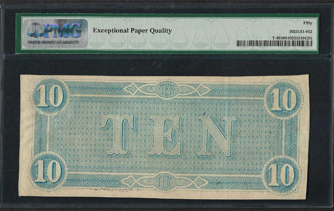 1864 $10 Confederate States of America Note T-68 PMG - 2