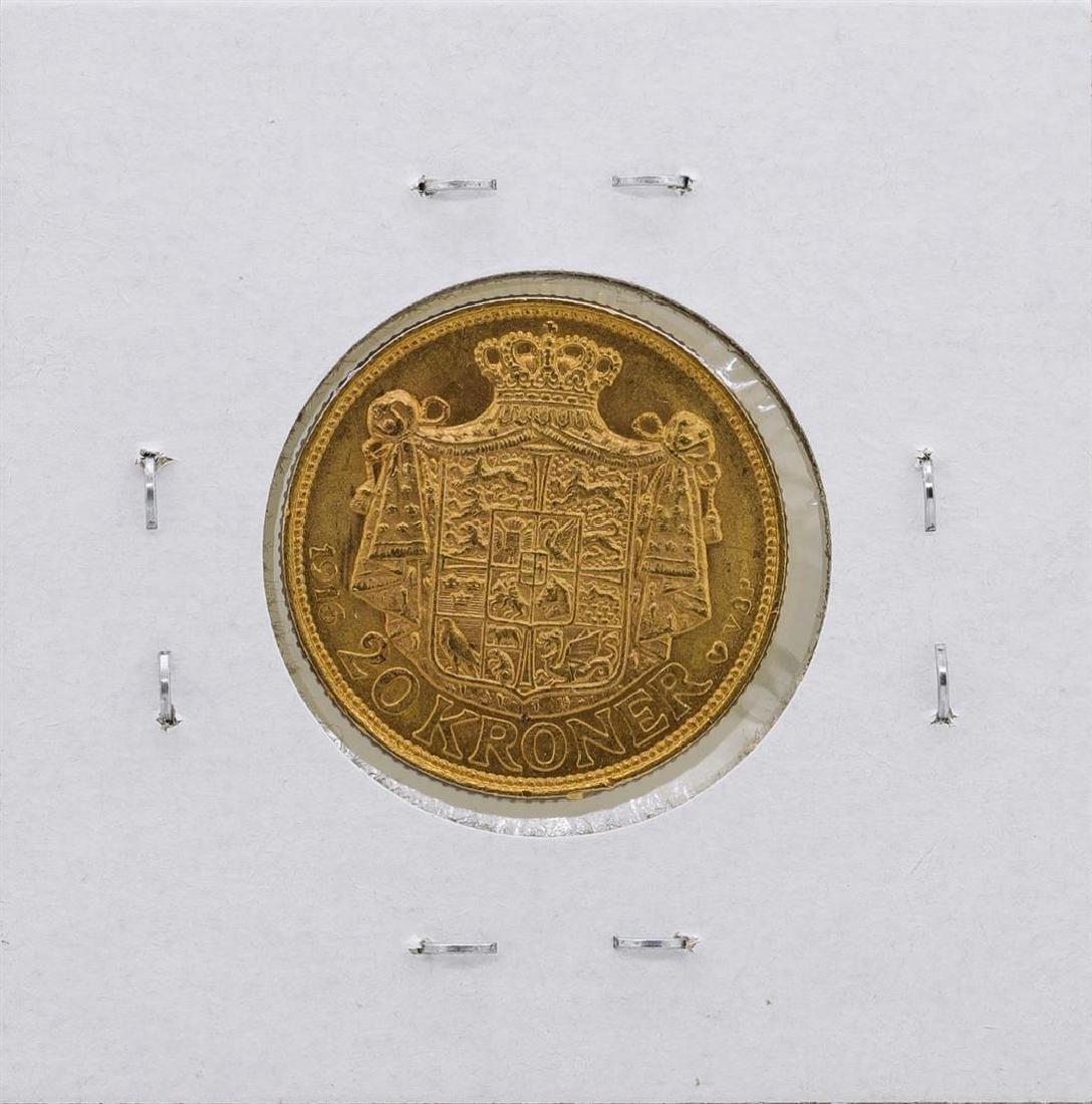 1916 Denmark Christian IX 20 Kroner Gold Coin - 2
