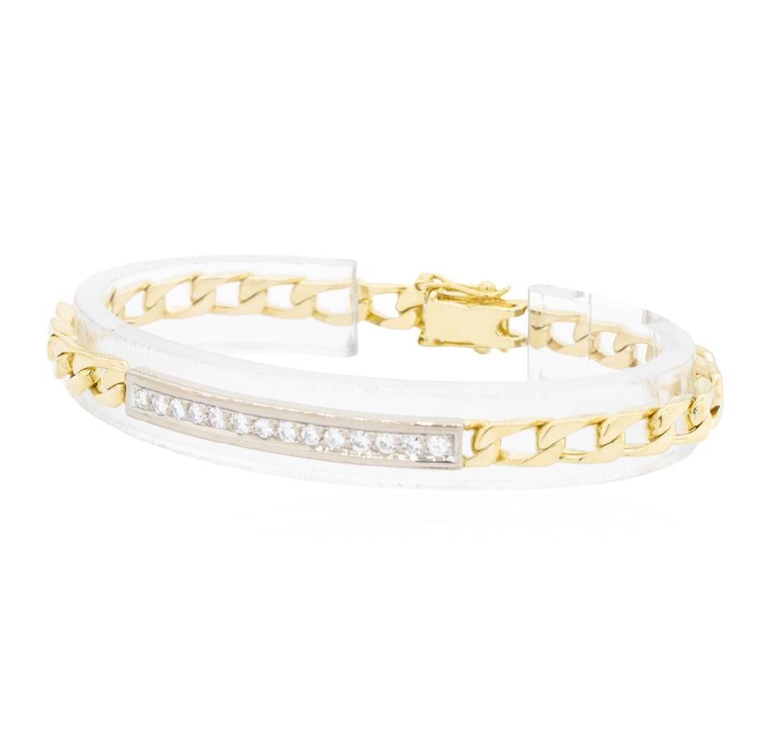 18KT Yellow and White Gold 1.00 ctw Diamond ID Bracelet