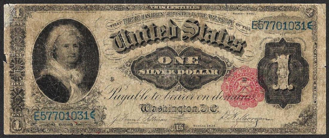 1891 $1 Martha Washington Silver Certificate Note -