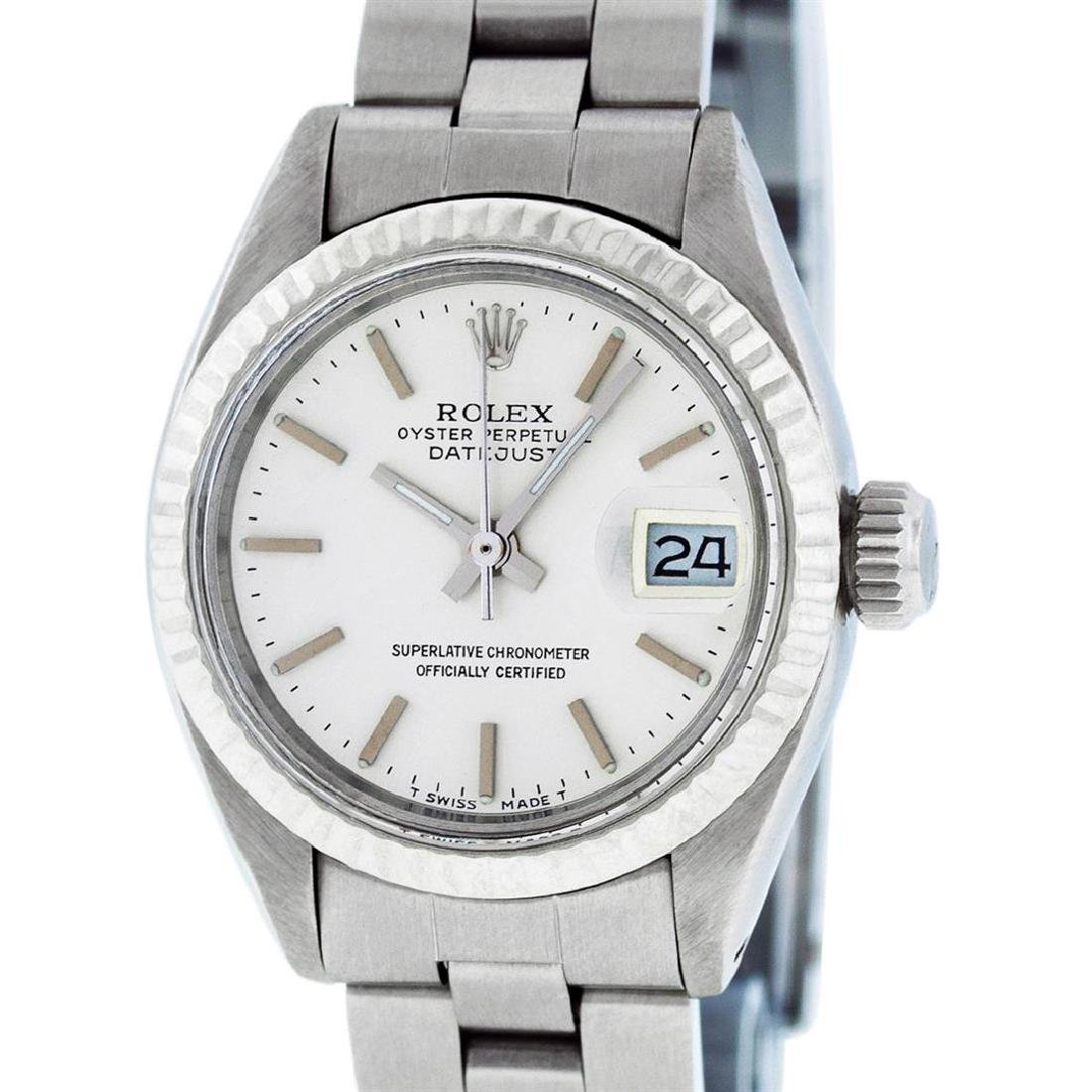 Rolex Ladies Stainless Steel Silver Index Oyster Band