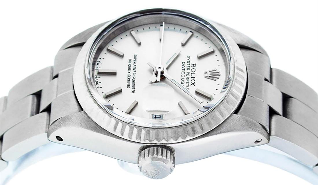 Rolex Ladies Stainless Steel Silver Index Oyster Band - 8