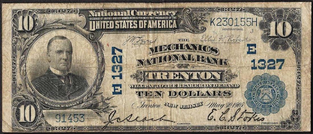 1902 $10 National Bank of Trenton, NJ CH#1327 National
