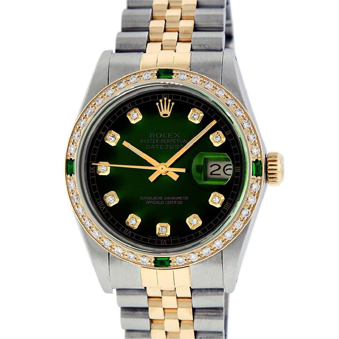 Rolex Men's Two Tone 14K Green Vignette Diamond &