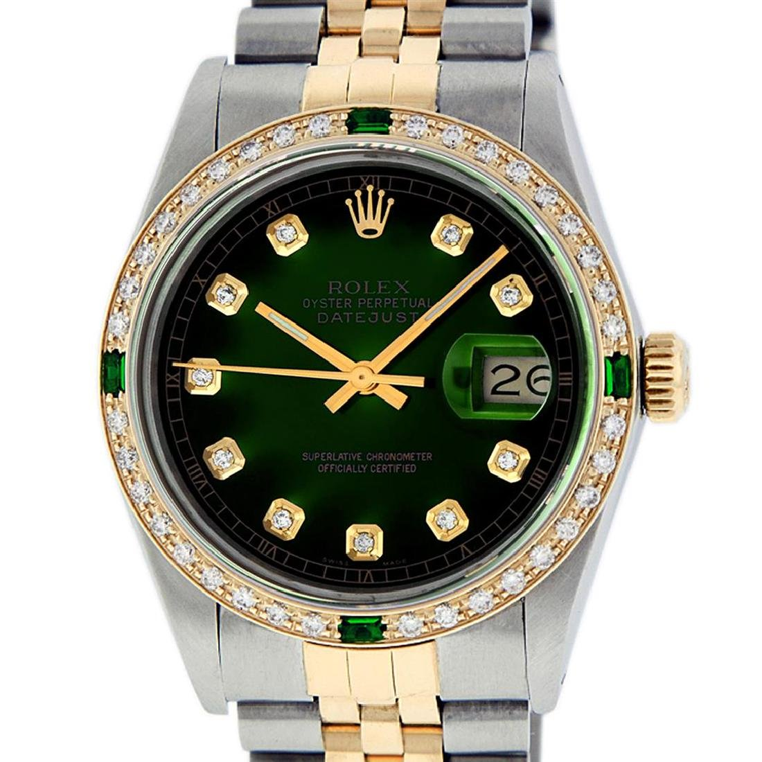 Rolex Men's Two Tone 14K Green Vignette Diamond & - 2