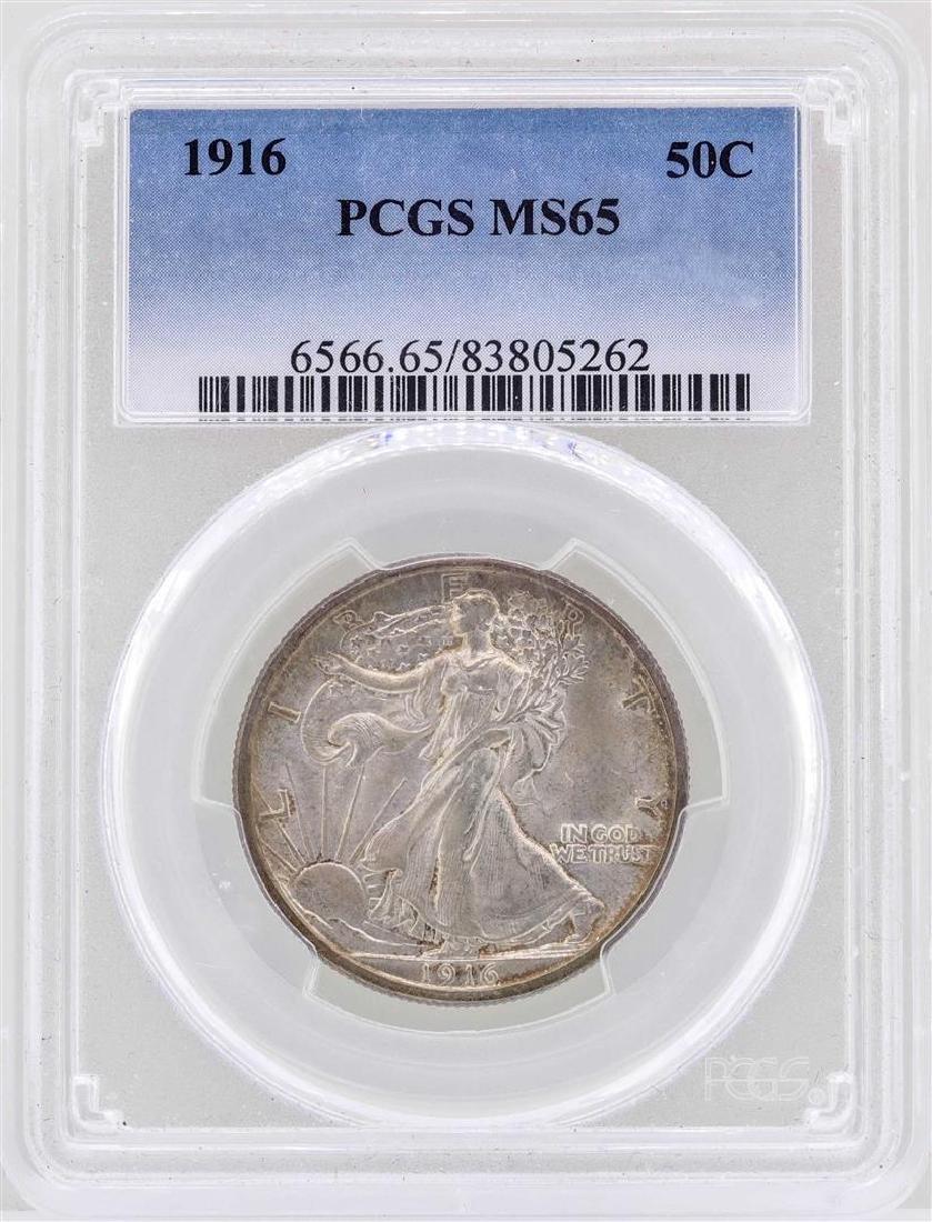1916 Walking Liberty Half Dollar Coin PCGS MS65