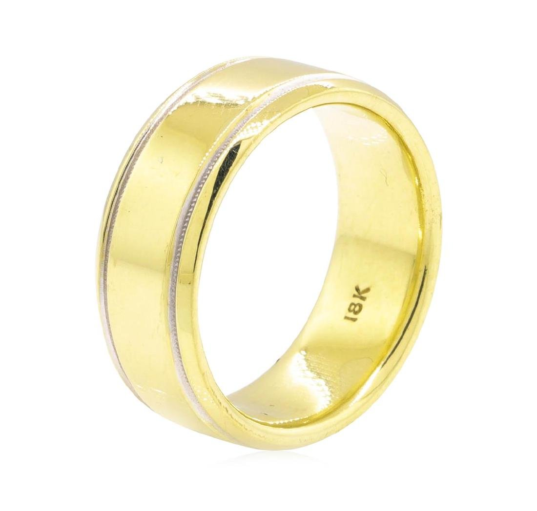 18KT Yellow Gold with Rhodium Detail Men's Band - 2