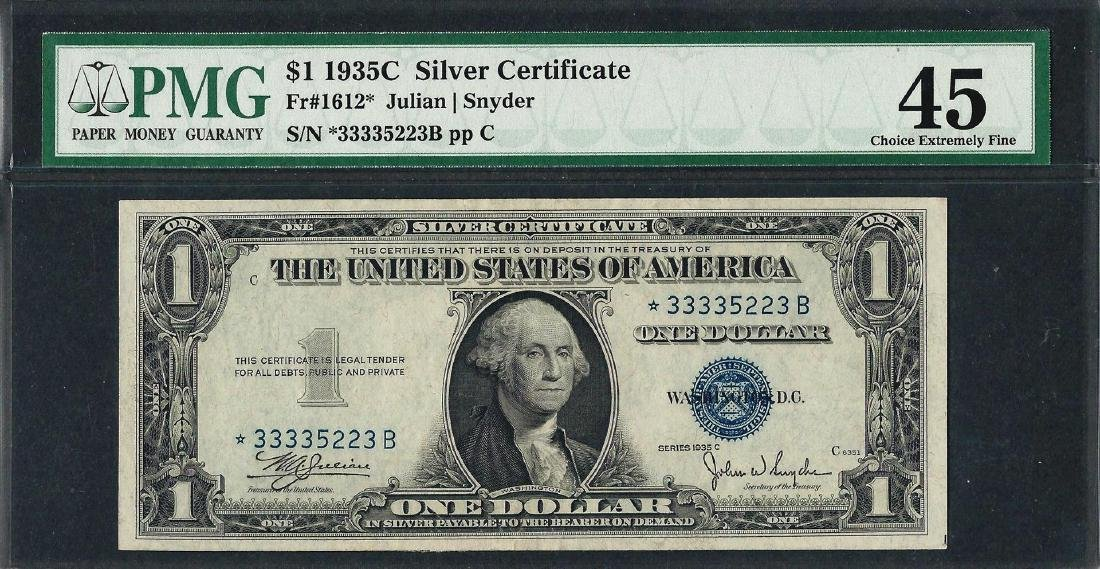 1935C $1 Silver Certificate STAR Note Fr.1612* PMG