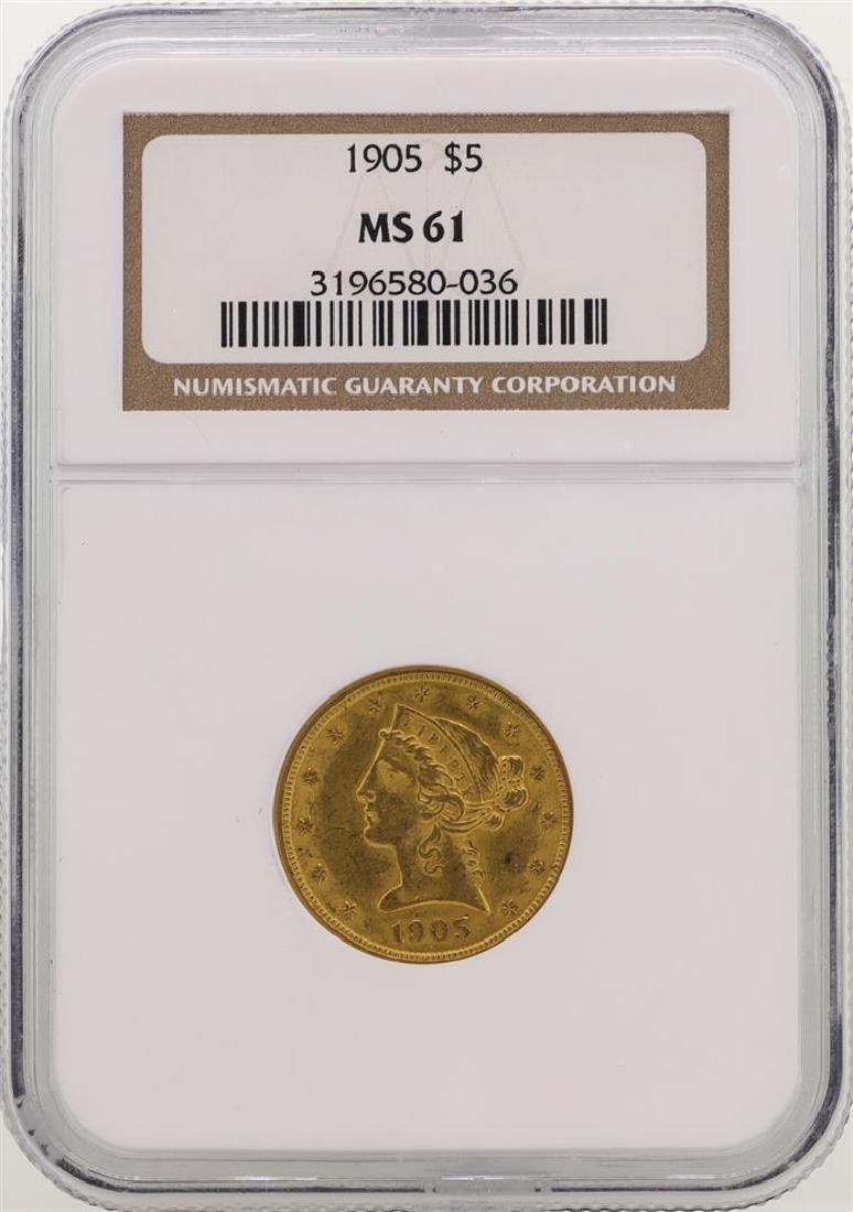 1905 $5 Liberty Head Half Eagle Gold Coin NGC MS61