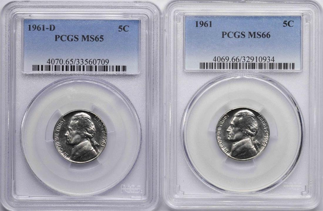 Lot of 1961 PCGS MS66 & 1961-D Jefferson Nickel Coins