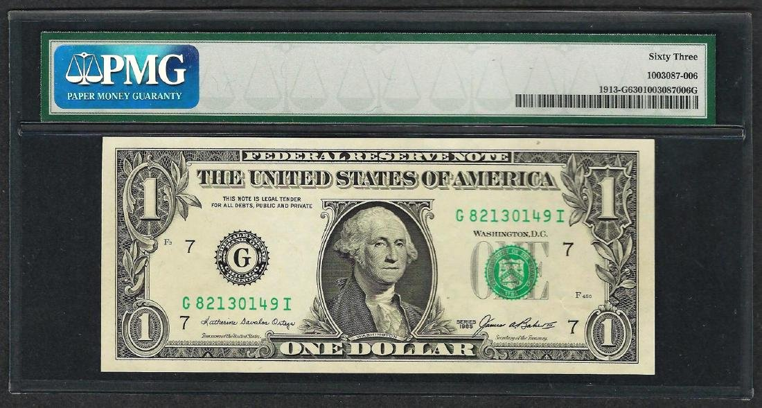1985 $1 Federal Reserve Note ERROR Insufficient Inking - 2
