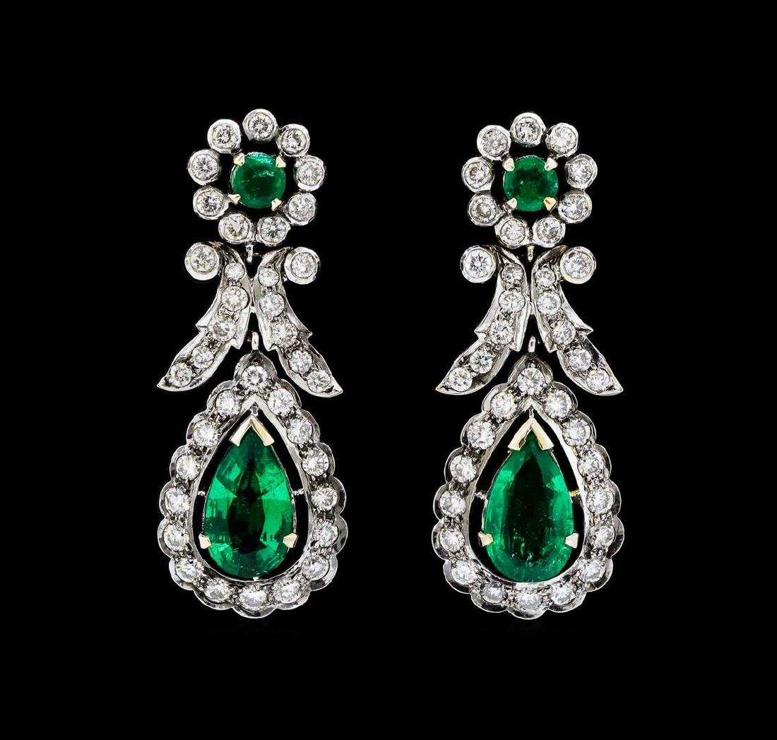 14KT White Gold 3.82 ctw. Emerald and Diamond Dangle
