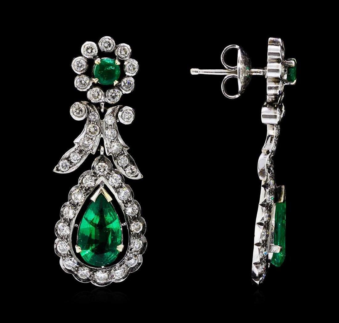 14KT White Gold 3.82 ctw. Emerald and Diamond Dangle - 2