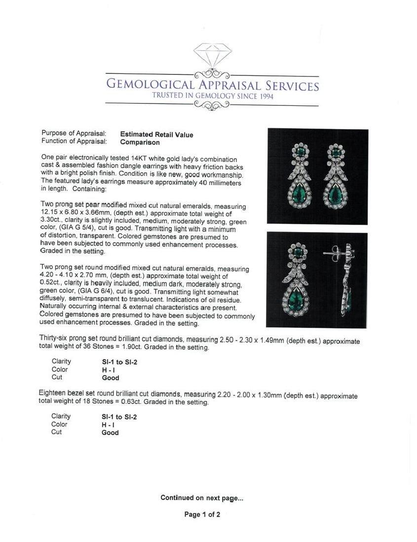 14KT White Gold 3.82 ctw. Emerald and Diamond Dangle - 3