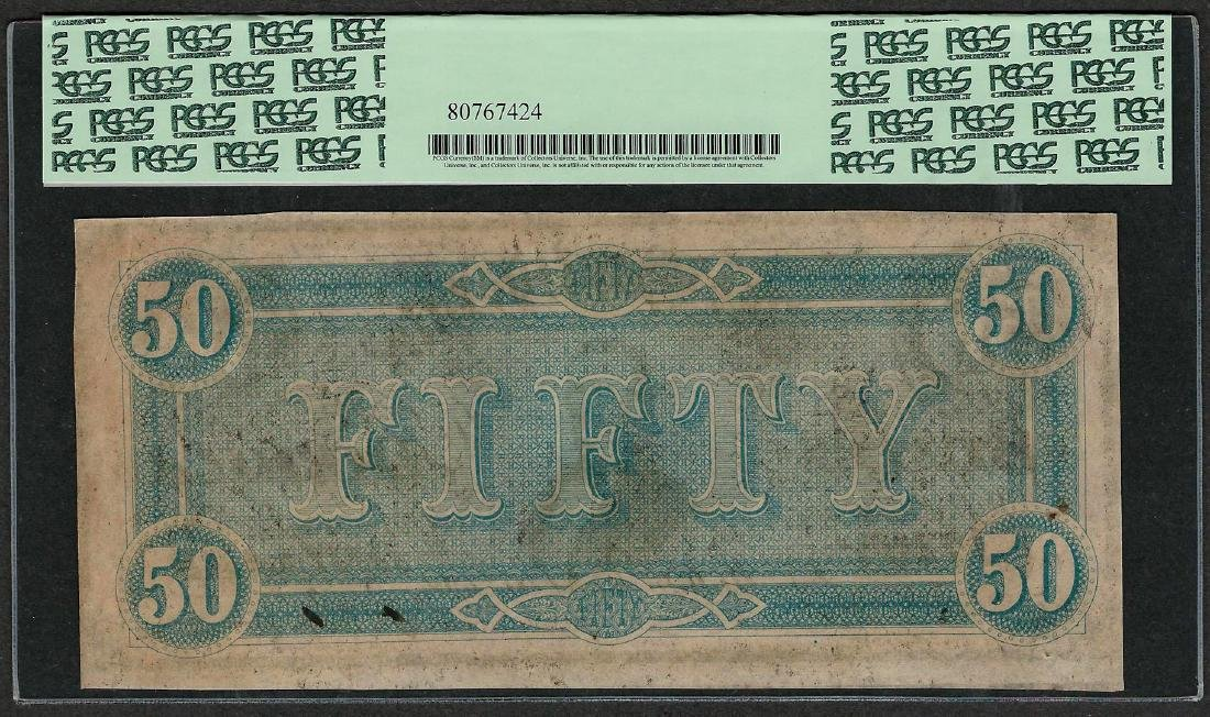 1864 $50 Confederate States of America Note T-66 PCGS - 2