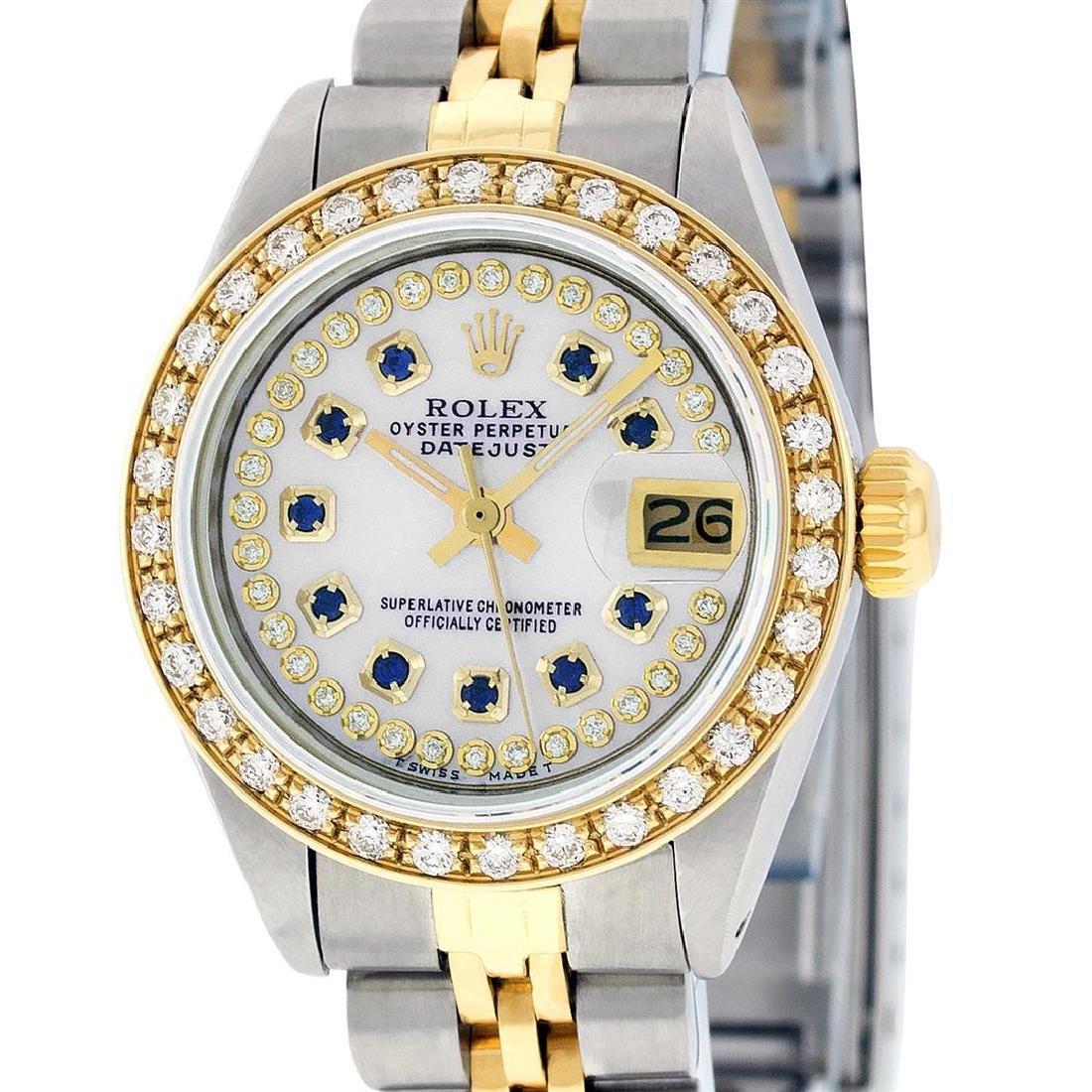 Rolex Ladies Two Tone 14K MOP Sapphire String Diamond