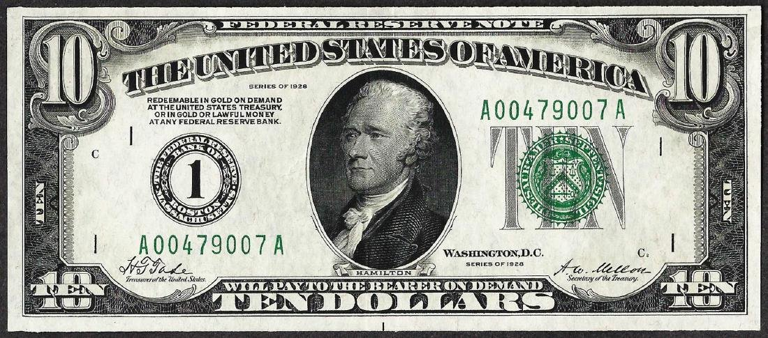 1928 $10 Federal Reserve Note Boston