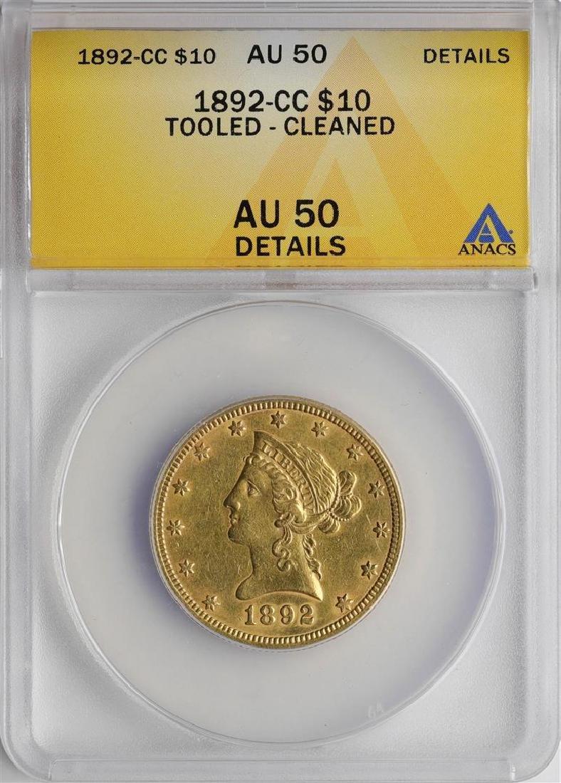 1892-CC $10 Liberty Head Half Eagle Gold Coin ANACS