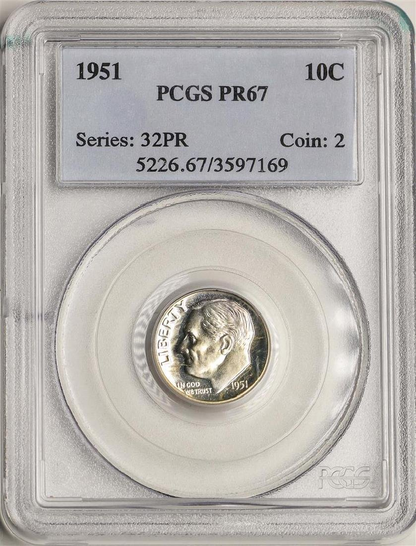 1951 Proof Roosevelt Dime Coin PCGS PR67