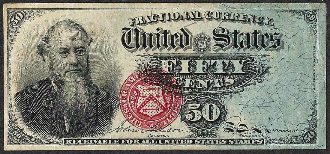March 3, 1863 50 Cents Fourth Issue Stanton Fractional