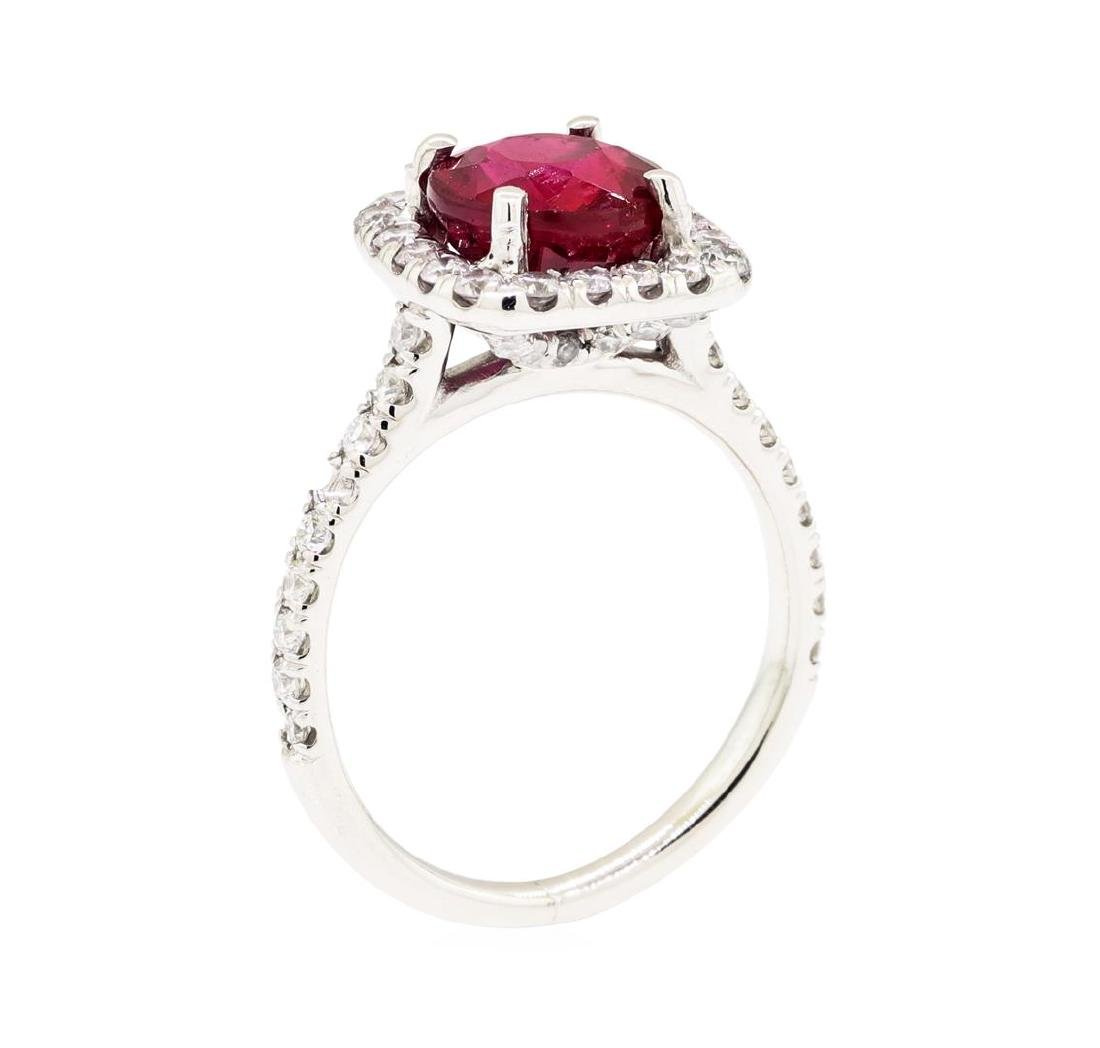 14KT White Gold 2.10 ctw Ruby and Diamond Ring - 4