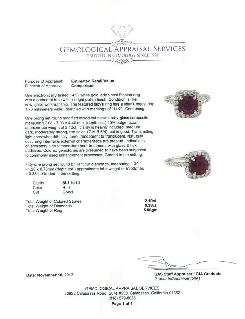 14KT White Gold 2.10 ctw Ruby and Diamond Ring - 5