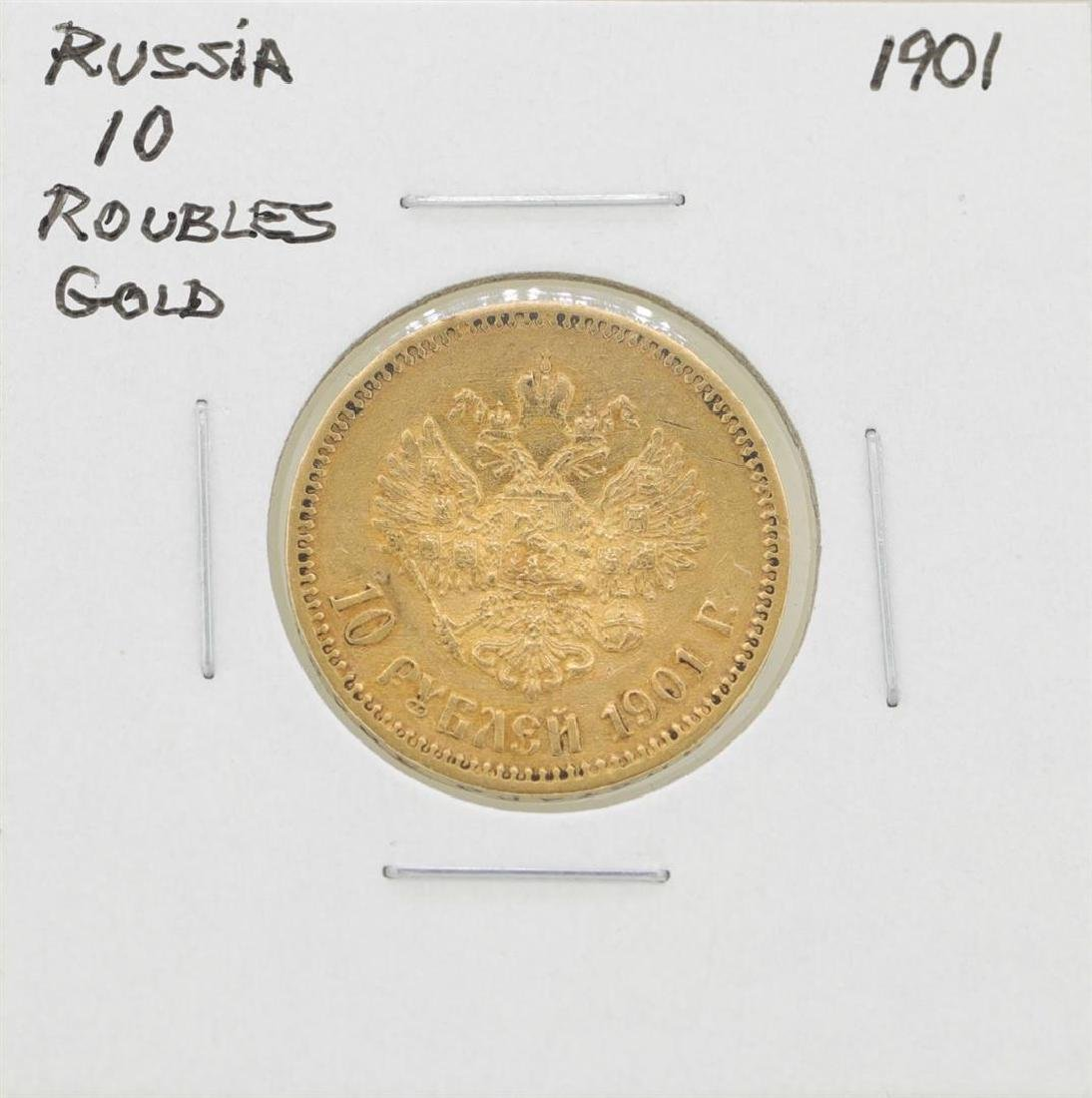 1901 Russia 10 Roubles Gold Coin