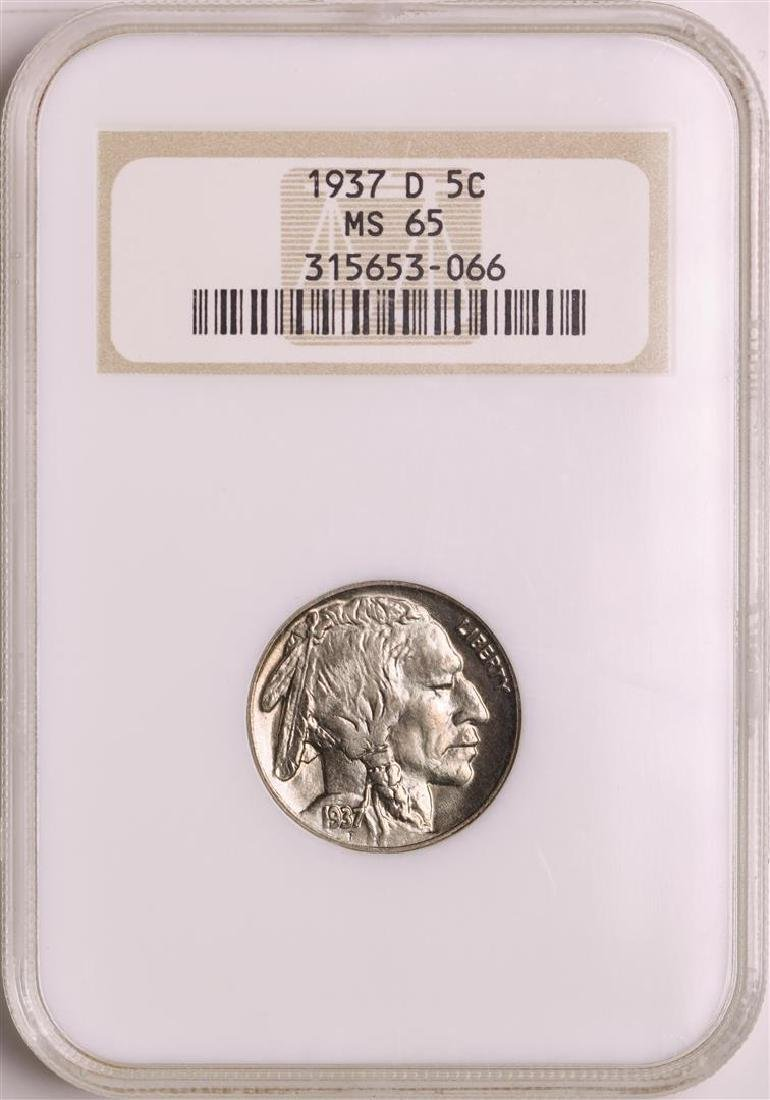 1937-D Buffalo Nickel Coin NGC MS65 Old Holder