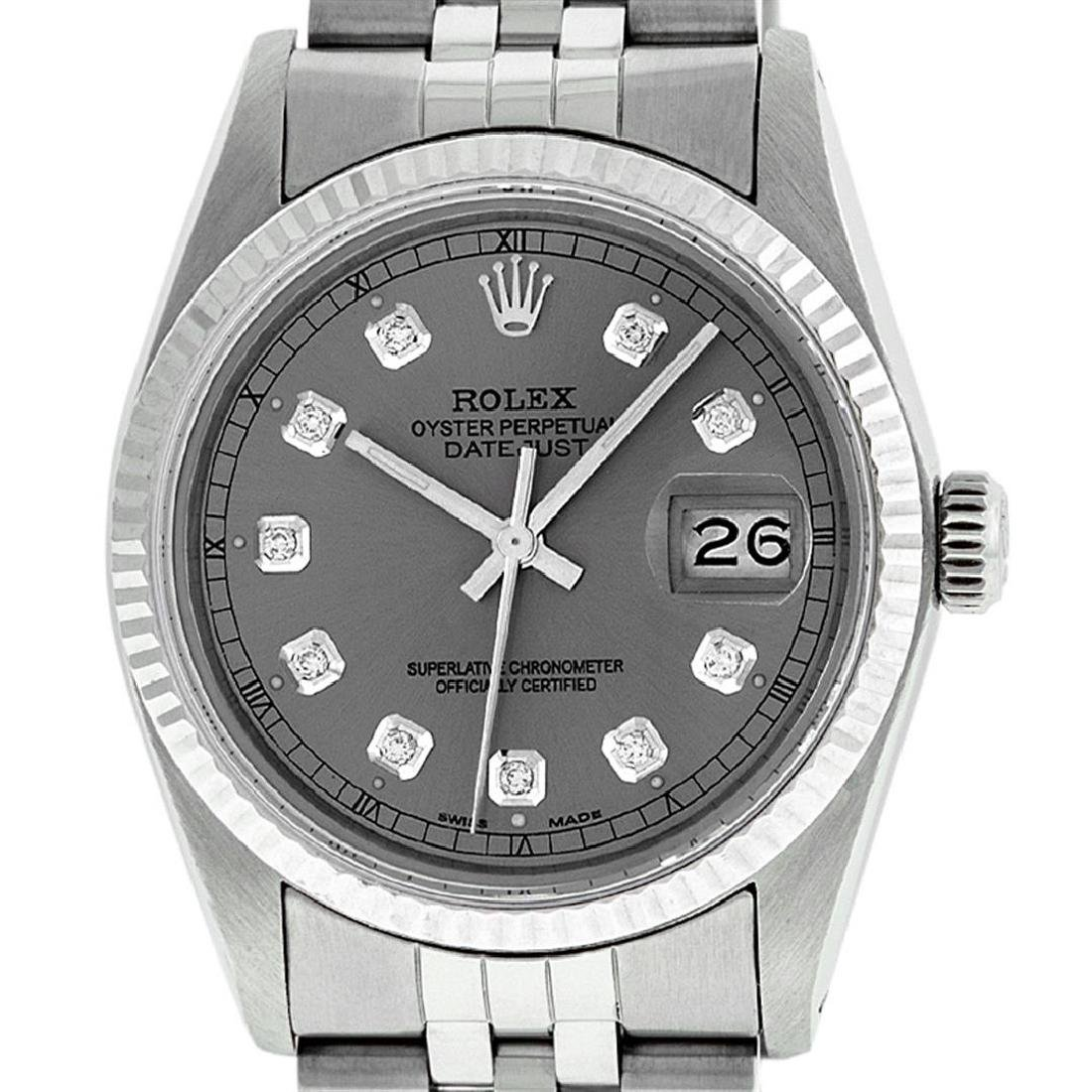 Rolex Men's Stainless Slate Grey Diamond 36MM Datejust