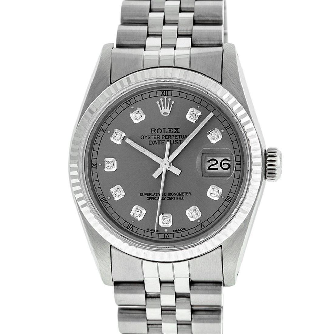 Rolex Men's Stainless Slate Grey Diamond 36MM Datejust - 2