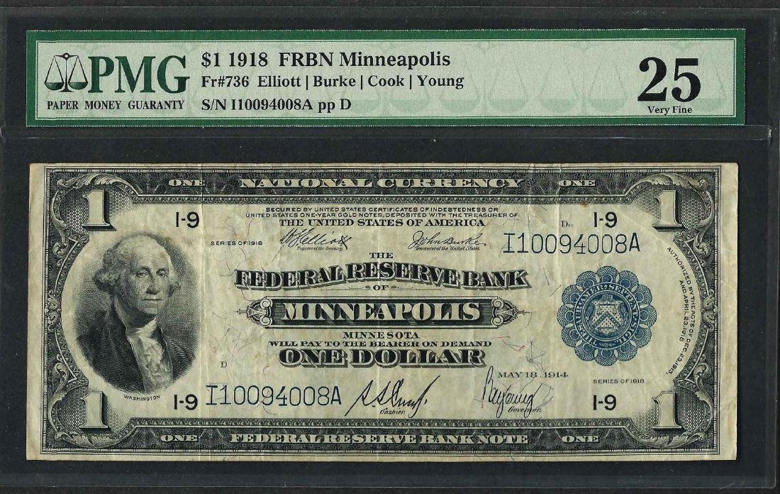 1918 $1 Federal Reserve Bank Note Minneapolis Fr.736