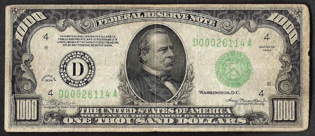 1934 $1,000 Federal Reserve Note Cleveland
