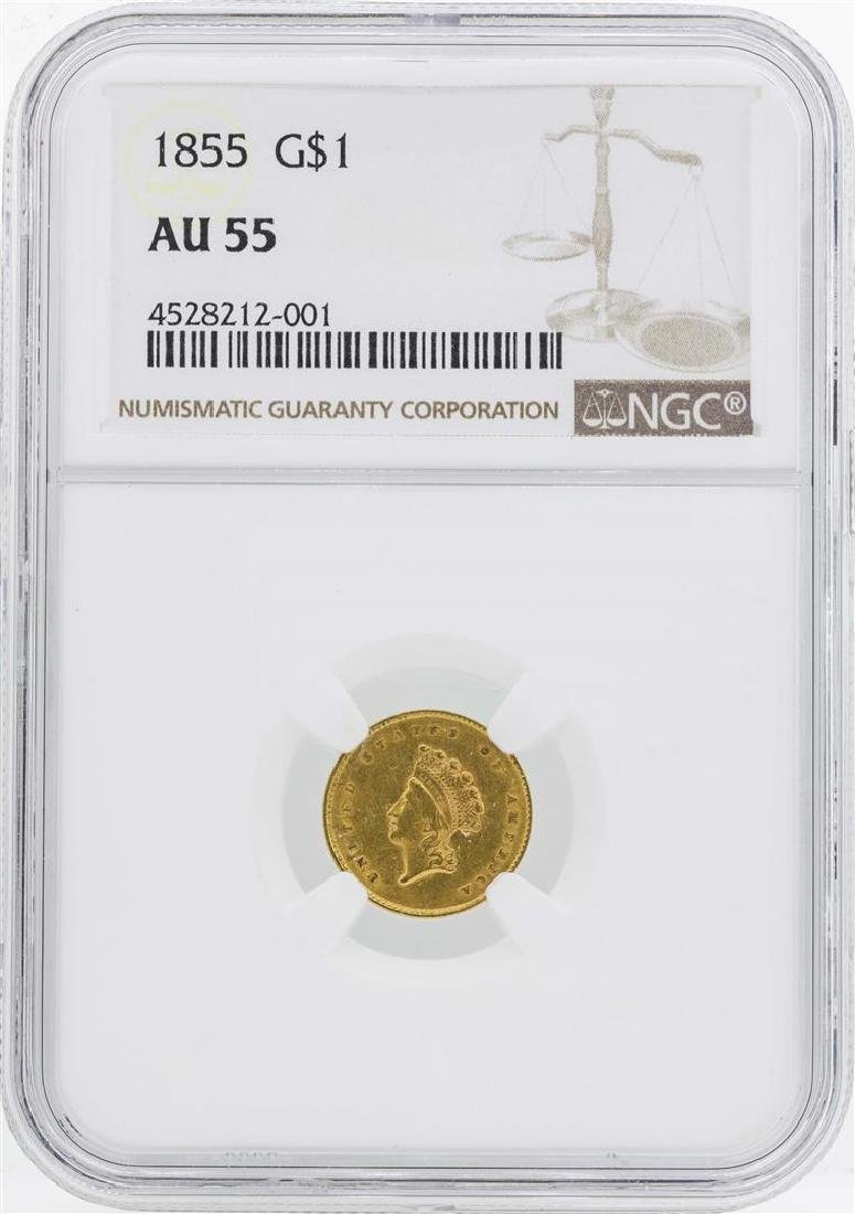 1855 $1 Indian Princess Head Gold Dollar Coin Type 2