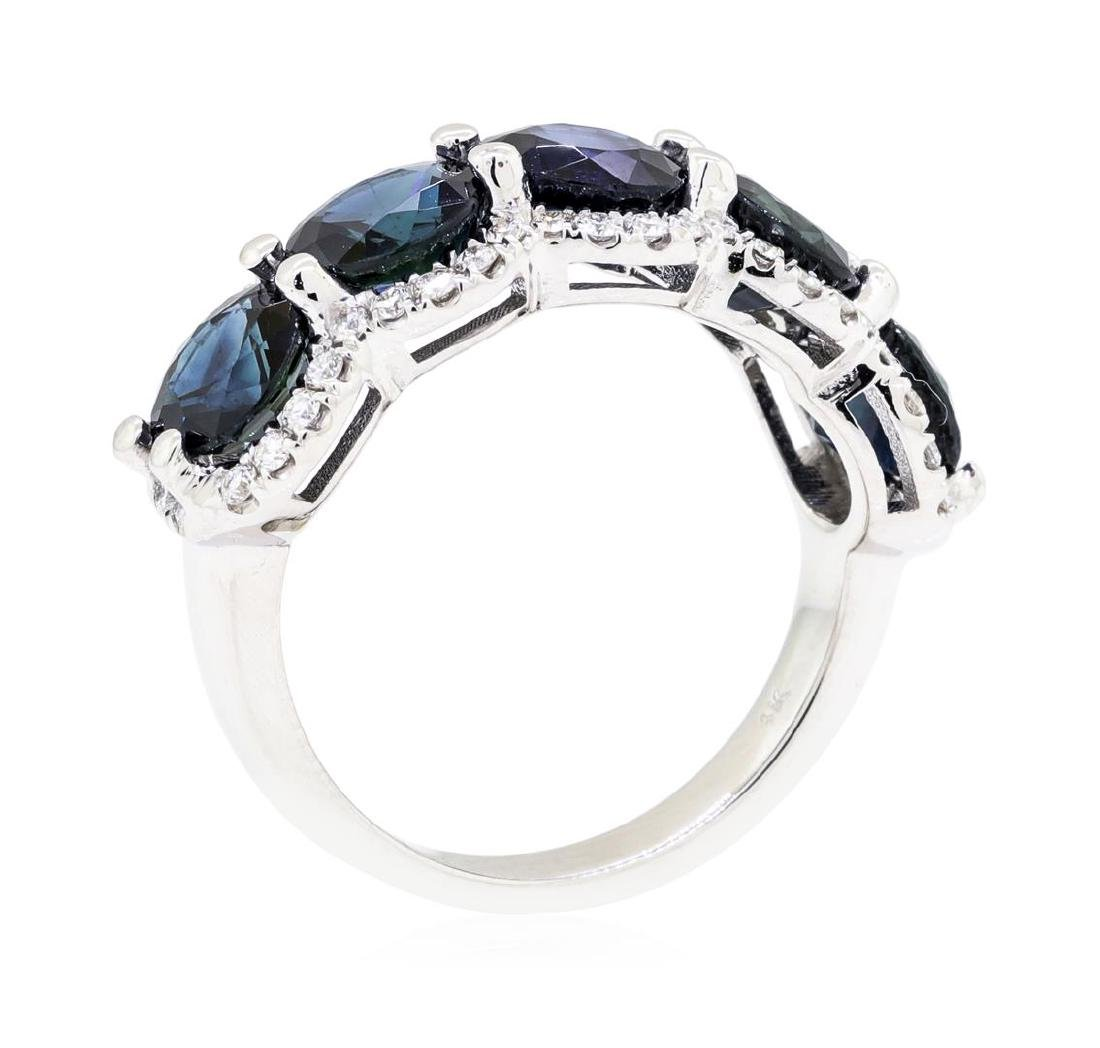 14KT White Gold 5.16 ctw Sapphire and Diamond Ring - 4