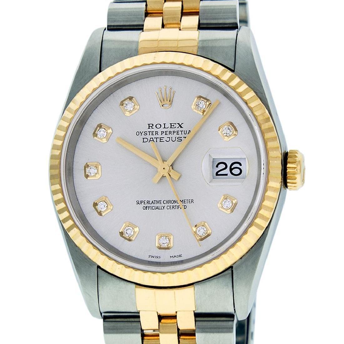 Rolex Mens Two Tone 14K Silver Diamond 36MM Datejust