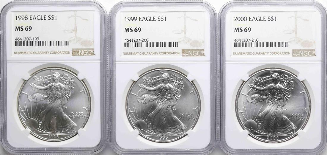 Lot of 1998-2000 $1 American Silver Eagle Coins NGC