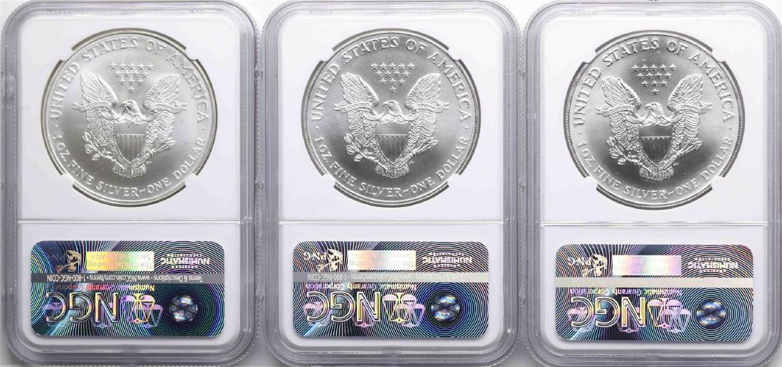 Lot of 1998-2000 $1 American Silver Eagle Coins NGC - 2