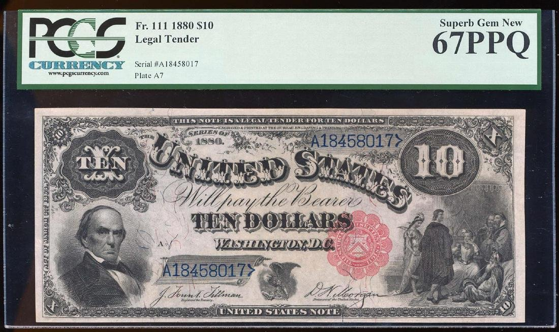NONE FINER 1880 $10 Jackass Legal Tender Note Fr.111